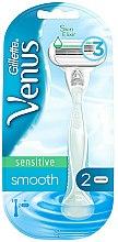 Parfums et Produits cosmétiques Rasoir avec 2 lames de rechange, blanc - Gillette Venus Smooth Sensitive
