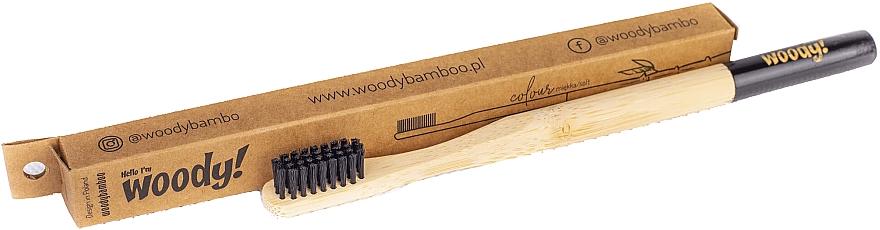 Brosse à dents en bambou souple, noir - WoodyBamboo Bamboo Toothbrush — Photo N1