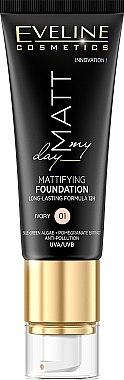 Fond de teint mat longue tenue - Eveline Cosmetics Matt My Day Mattifying Foundation