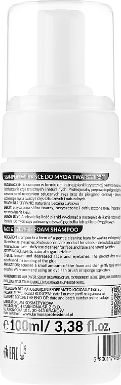 Shampooing moussant pour visage et cils - Farmona Professional Expert Lashes Face&Eyelash Foam Shampoo — Photo N2