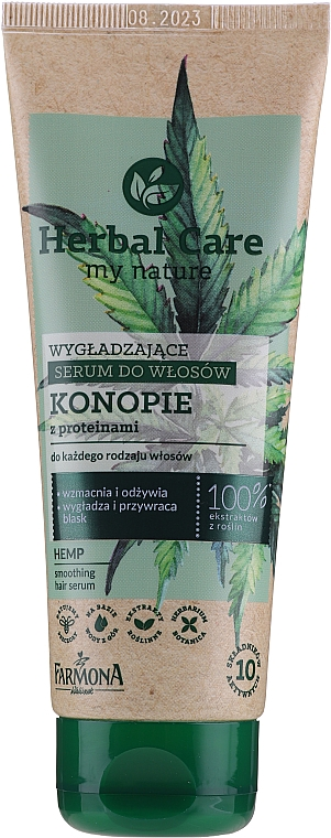 Sérum à l'huile de chanvre pour cheveux - Farmona Herbal Care Smoothing Hair Serum with Hemp Oil and Protein