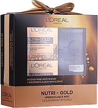 Parfums et Produits cosmétiques Loreal Nutri Gold - Set (crème-masque de nuit/50ml + crème-huile de jour/50ml + eau micellaire/200ml)