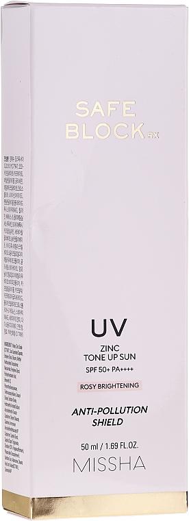 Crème solaire anti-pollution au zinc pour visage - Missha Safe Block RX Zinc Tone Up Sun SPF50+ — Photo N2