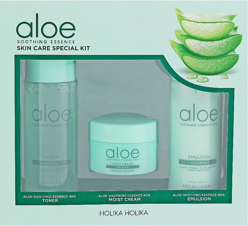 Holika Holika Aloe - Coffret soin (tonique /50ml + émulsion /50ml + crème/20ml)