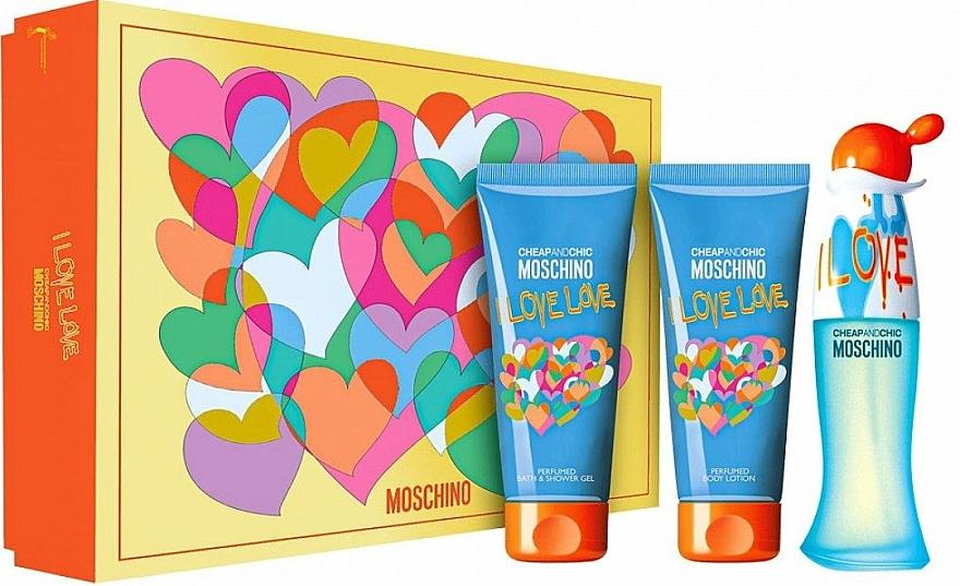 Moschino I Love Love - Coffret (eau de toilette/50ml + lotion corporelle/100ml + gel bain et douche/100ml) — Photo N1