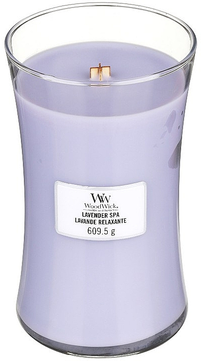 Bougie parfumée en jarre avec mèche en bois, Lavande relaxante - WoodWick Hourglass Candle Lavender Spa — Photo N1
