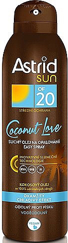 Huile sèche en spray à l'huile de noix de coco pour corps - Astrid Sun Easy Spray Coconut Love SPF20 — Photo N1