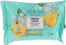 Parfums et Produits cosmétiques Lingettes humides démaquillantes pour visage, yeux et lèvres, Ananas - Bielenda Fresh Juice Micelar Care Make-up Removing Wipes