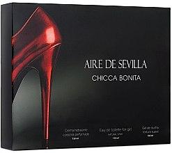 Parfums et Produits cosmétiques Instituto Espanol Aire de Sevilla Chicca Bonita - Coffret (eau de toilette/150ml + gel douche/150ml + crème/150ml)