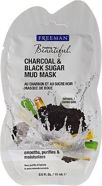 Masque de boue au charbon et sucre noir pour visage - Freeman Feeling Beautiful Charcoal & Black Sugar Mud Mask (mini) — Photo N1