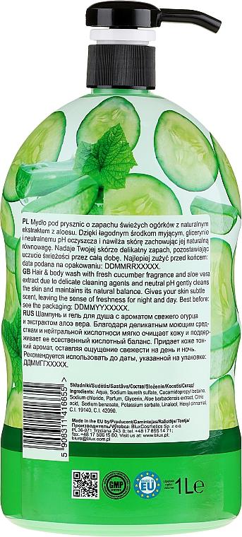 Gel douche pour corps et cheveux, Concombre et Aloe Vera - Bluxcosmetics Naturaphy — Photo N2