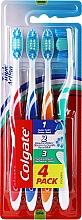 Parfums et Produits cosmétiques Brosses à dents, 4 pcs, médium, rose, bleu, orange, vert - Colgate Triple Action Medium Toothbrush