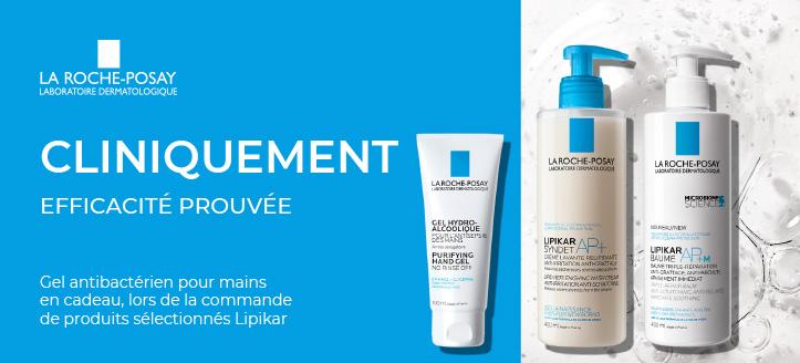 Vous recevrez un gel antibactérien pour mains en cadeau, lors de la commande de produits Lipikar sélectionnés