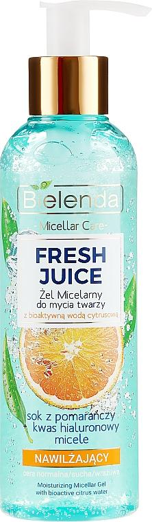 Bielenda Fresh Juice Micellar Gel Orange - Gel micellaire hydratant à l'eau bioactive d'agrumes et jus d'orange, visage