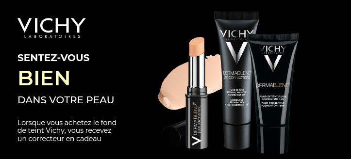Lorsque vous achetez le fond de teint Vichy, vous recevez un correcteur Dermablend en cadeau