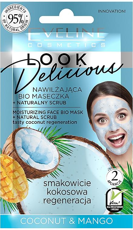 Masque hydratant bio à l'huile de coco et beurre de graines de mangue pour visage - Eveline Cosmetics Look Delicious Face Bio Mask