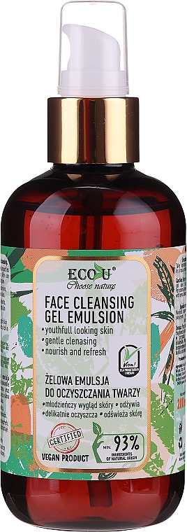Gel nettoyant à l'extrait d'épinard pour visage - Eco U Face Cleansing Gel Emulsion
