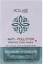 Parfums et Produits cosmétiques Masque à l'acide hyaluronique pour visage, cou et décolleté - Vollare Anti-Pollution Protection Mask