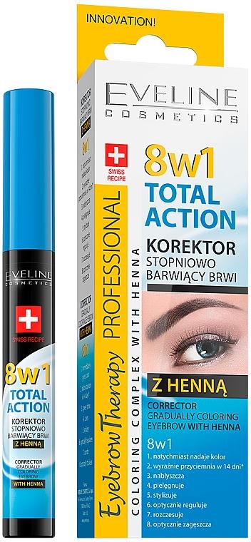 Correcteur au henné pour sourcils - Eveline Cosmetics Eyebrow Therapy 8in1 Total Action ECorrector Gradually Coloring Eyebrow With Henna
