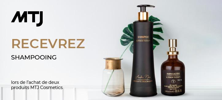 À l'achat de deux produits MTJ Cosmetics, recevrez un shampooing en cadeau