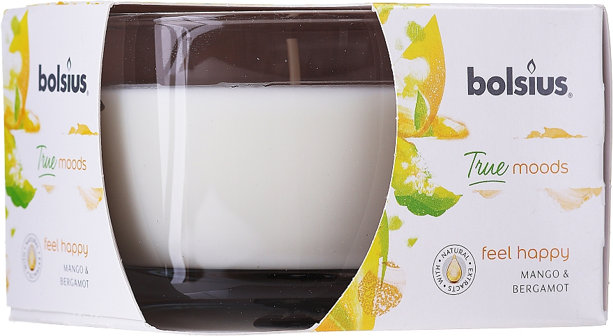 Bougie parfumée en verre, Mangue et Bergamote, 63/90 mm - Bolsius True Moods Candle — Photo N1