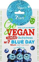 Parfums et Produits cosmétiques Masque tissu à l'extrait de matcha pour visage - 7 Days Go Vegan Sunday Blue Day