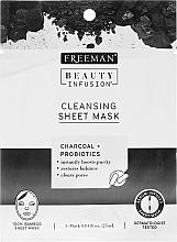 Parfums et Produits cosmétiques Masque tissu à largile, charbon et probiotiques pour visage - Freeman Beauty Infusion Cleansing Clay Mask Charcoal & Probiotics