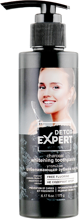 Dentifrice au charbon actif - Detox Expert Charcoal Whitening Toothpaste