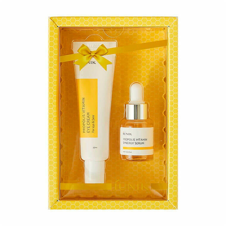 iUNIK Propolis Vitamin Eye Cream Set - (crème yeux/30ml + sérum/15ml)