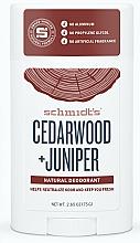 Parfums et Produits cosmétiques Déodorant stick naturel sans sels d'aluminium Cèdre et Génévrier - Schmidt's Deodorant Cedarwood Juniper