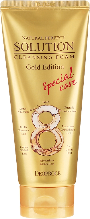 Mousse nettoaynte à l'extrait de racine de gingembre pour visage - Deoproce Natural Perfect Solution Cleansing Foam Gold Edition — Photo N2