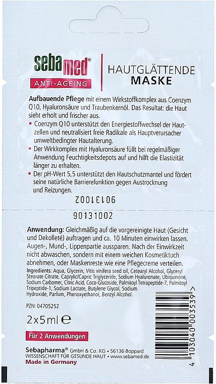 Masque à l'acide hyaluronique et coenzyme Q10 pour visage - Sebamed Anti-Ageing Q10 Hyaluron Face Mask — Photo N2
