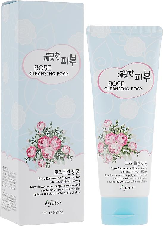 Mousse nettoyante à l'eau de rose de Damas pour visage - Esfolio Pure Skin Rose Cleansing Foam