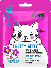 Parfums et Produits cosmétiques Masque anti-fatigue au jus de framboise et lavande pour visage - 7 Days Animal Pretty Kitty