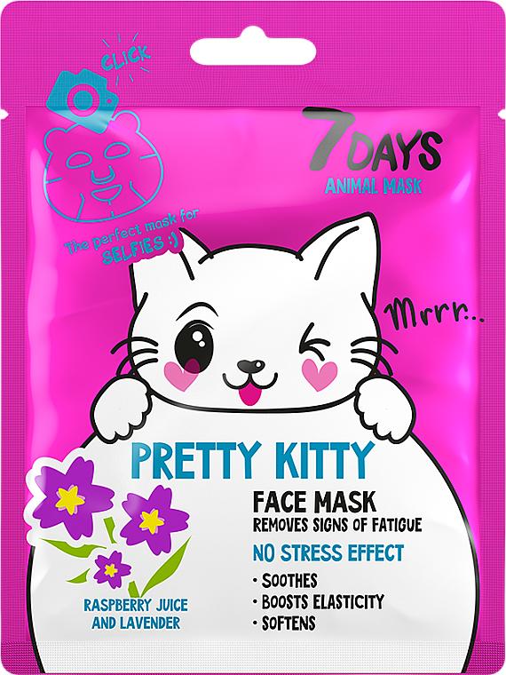 Masque anti-fatigue au jus de framboise et lavande pour visage - 7 Days Animal Pretty Kitty — Photo N1