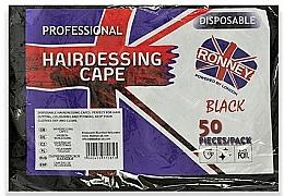 Parfums et Produits cosmétiques Capes de coiffure jetables en aluminium noir, 50 pcs - Ronney Professional Hairdressing Cape