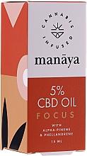 Parfums et Produits cosmétiques Huile de chanvre améliorant la concentration - Manaya 5 % CBD Oil Focus