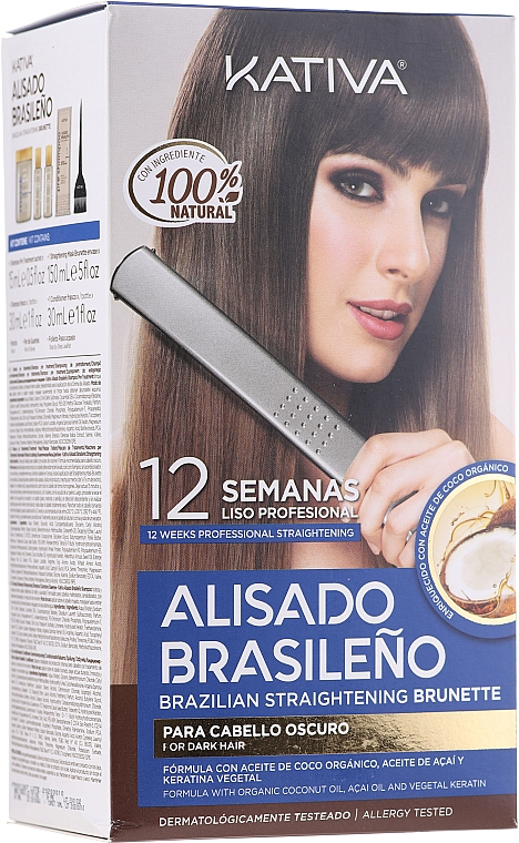 Kativa Alisado Brasileno Straighten Brunette - Kit de lissage pour cheveux bruns