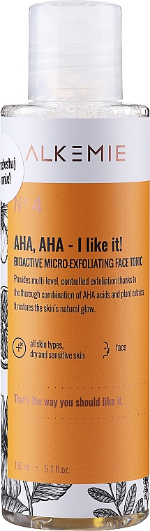 Lotion tonique exfoliante - Alkemie Nature's Treasure Aha Aha I Like It! Tonic