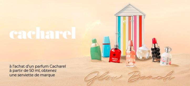 Recevrez une serviette de marque en cadeau à l'achat d'un parfum Cacharel à partir de 50 ml