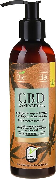 Emulsion nettoyante, hydratante et détoxifiante, au chanvre pour le visage - Bielenda CBD Cannabidiol Emulse