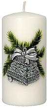 Parfums et Produits cosmétiques Bougie décorative, Cloche de Noël, argent-turquoise, 7 x 14 cm - Artman Christmas Bell Candle